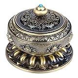 Quemador de incienso Tibet Lotus Pattern, aleación de aluminio - Contenedor de...