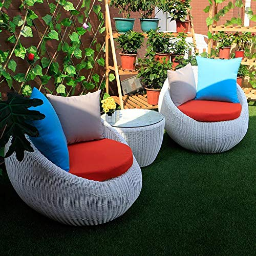 Set di Mobili da Giardino per Esterni, 3 Pezzi di Vimini in Rattan Divano da Giardino Moderni Set di Conversazione per Il Tempo Libero con Sedia Singola E Tavolino da caffè,Bianca