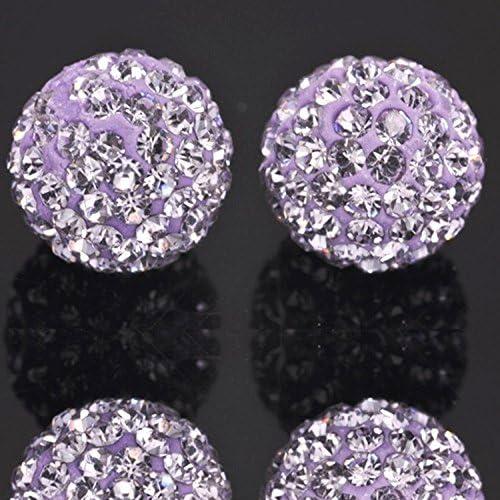 DALAOCU Width 1.2 Stainless Steel B/ûtt Plug Bead Purple Crystal Jeweled Back