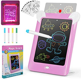 AMERTEER Kids LCD Writing Tablet,10 Inch Writing Doodle Board | 3D LED Luminous Magic Drawing Pad Toys -ABC Graphics Handw...