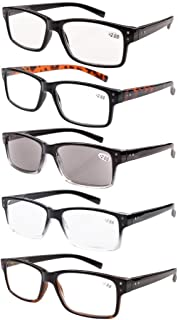 Eyekepper 5-Pack Spring Hinges Vintage Reading Glasses Men Includes Sunshine Readers +1.50