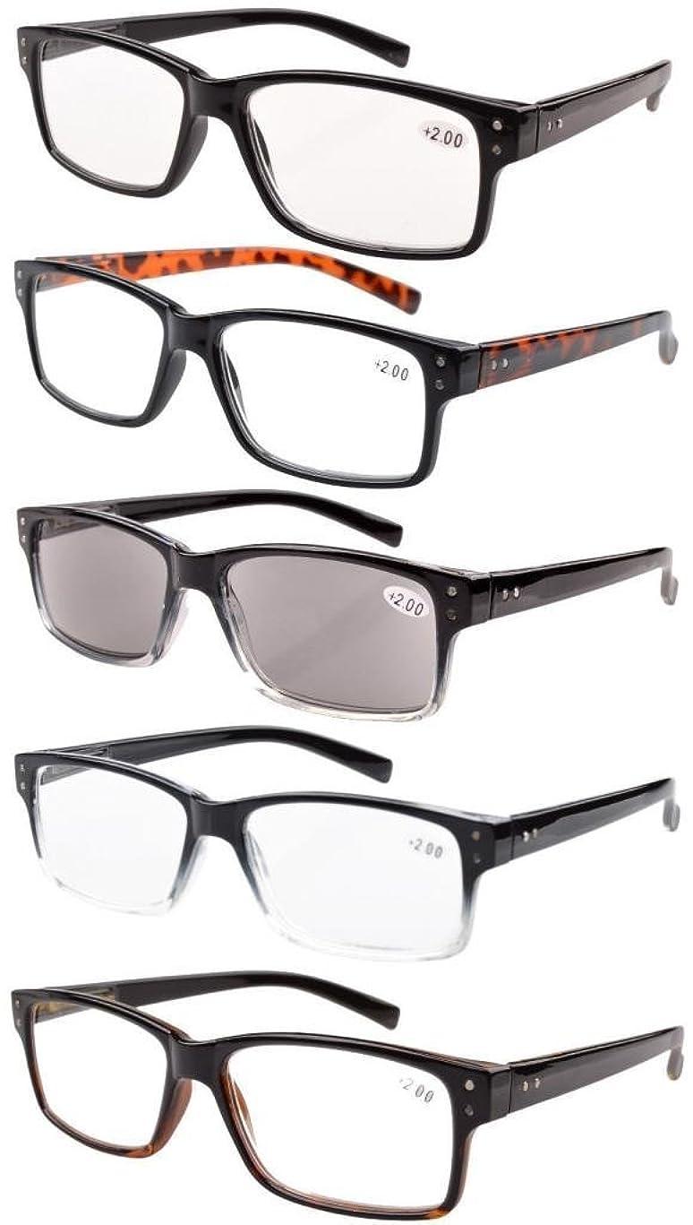 Eyekepper 5-Pack Spring Hinges Vintage Reading Glasses Men Includes Sunshine Readers +1.50