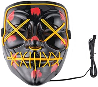 Halloween Scary Mask Cosplay Led Costume Mask EL Wire Light up for Halloween Festival Partyyellow