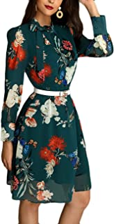 Ninimour Women Floral Print Bow-Tied Neck Long Sleeve Casual Midi Dress