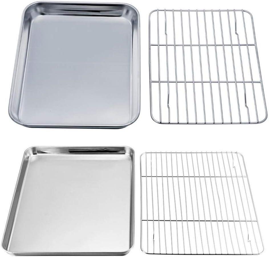 Vassoio di cottura con griglia di raffreddamento set di cottura antiaderente in acciaio inox con piastra di cottura a specchio per ali di pollo croccanti al bacino