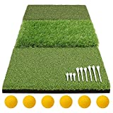 Gavistory Tri-Turf 3-in-1 Golf Hitting Mat Foldable Includes Tight Lie, Rough and Fairway for Driving, Chipping, and Putting Golf Practice and Training(25' x 15')
