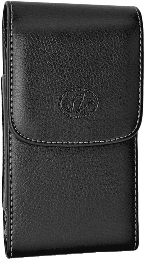 Wonderfly Vertical Holster Compatible with Samsung Galaxy A7 (2016), A7, J7 (2016) or J7, a Large Size Leather Carrying Case with Belt Loops and Belt Clip, Fits The Phone with a Thick Case