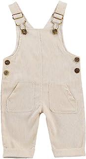 YURIO Newborn Infant Baby Boy Girl Fall Winter Suspender Pants Overalls Corduroy Bib Pants Trousers with Pockets