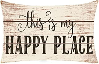 Bnitoam Wooden Background Life Phrases This is My Happy Place Cotton Linen Throw Pillow Covers Case Cushion Cover Sofa Decorative Square 12 x 20 inch (1)