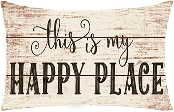 Bnitoam Wooden Background Life Phrases This Is My Happy Place Cotton Linen Throw Pillow Covers Case Cushion Cover Sofa Decorative Square 12 X 20 Inch 1