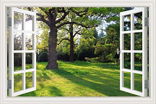 """Pegatina de vinilo para pared con paisaje de sol y árbol de arce (ventana 3D), W0274, 28\""""X40\"""""""
