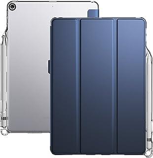 iPad 9.7ケース Poetic スタンド機能 筆の収納 シンプル 三つ折タイプ 全面保護型 背面の透明ケース ペンホルダー付き 保護カバー iPad 9.7 2018用 TPU素材, ブルー