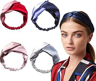 4 Pack Silk Headbands for Women Vintage Criss Cross Elastic Head Wrap Twisted Cute Hair Accessories