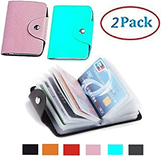 K Y KANGYUN Christmas Gift 48 Pcs Transparent Plastic Vertical ID Credit Card Holder Protector Sleeve for Women's and Girl Mini Unisex 2pack(Pink&Blue)…