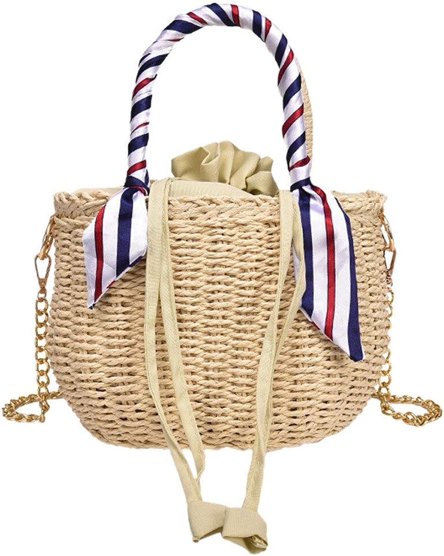 OKMPL Woman Fashionable Weave Beach Shoulder Bags Ladies Bohemian Style Bucket Bags Shoulder Bags