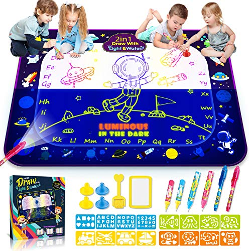 2-in-1 Water Doodle Mat Luminous 48'x35' 29pcs Large Aqua Water Drawing Mat Educational & Development Reusable Painting Writing Kits Toys for 2 3 4 5 6 7 8 Years Old Kids Boys Girls Gift