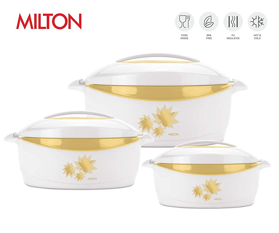 Milton Trumph 3 pc set (34oz/50oz/84 oz) Insulated Hot Pot/Casserole/Serving Bowl with Lid & Stainless Steel Inner - Keep food Hot/Cold upto 4-6 hrs (White/Gold)