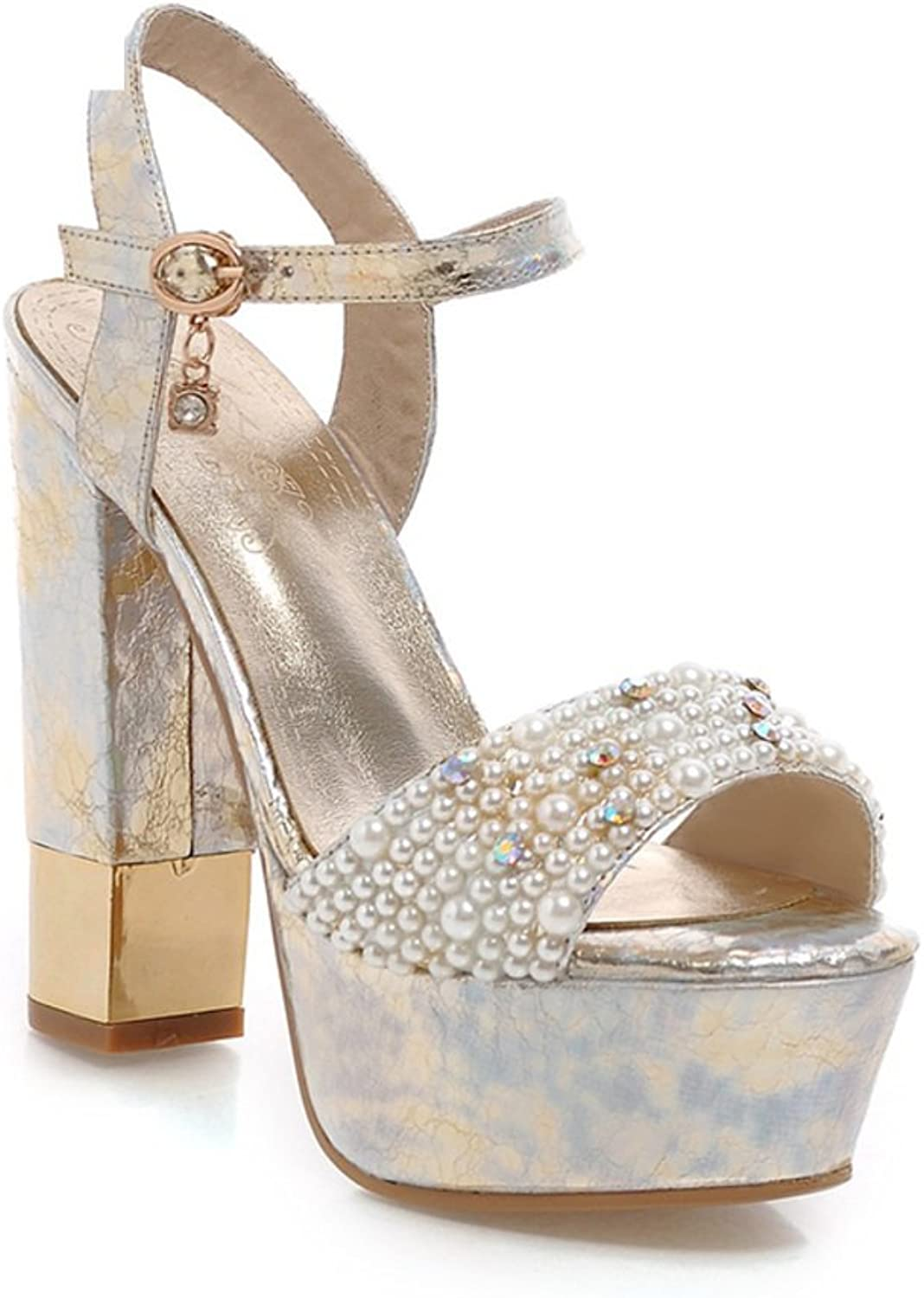 RHFDVGDS Summer fashion Sandals coarse to sexy party shoes Pearl Crystal shoes Always buckle ladies Sandals