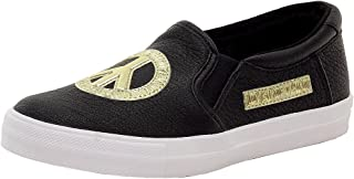 Women's Pebbled Black/Gold Peace Fashion Slip-On Sneakers Shoes