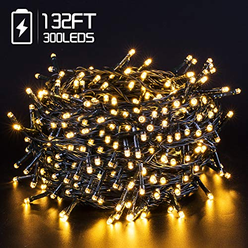 LED String Lights Battery Operated with Timer Function, 132FT 300 LED Waterproof Christmas Decoration Lights Warm White Two Colour 8 Modes for Home Garden Wedding Party Xmas Tree, UL588 Approved