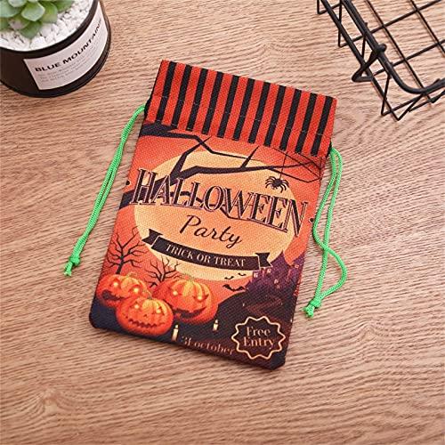 MILONT Bolsas de dulces con cordón de Halloween, bolsas de truco o golosinas/bolsas de Halloween para dulces, bolsas de regalo de tela con asas para niños Halloween Party Favors (E)