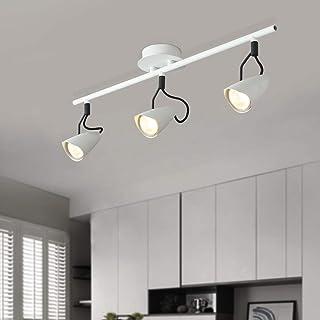NEWSEE - Lámpara de techo (3 focos, giratoria, para el techo, para el salón, el dormitorio, la cocina, el interior, ángulo regulable, bombilla GU10)