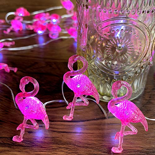 Vintage Pink Flamingo Bird Décor String Lights 10ft 30 LEDs Operated with USB Cord or Battery Case, Multi-Function Remote Control for Wedding Wall Birthday Bathroom Decoration