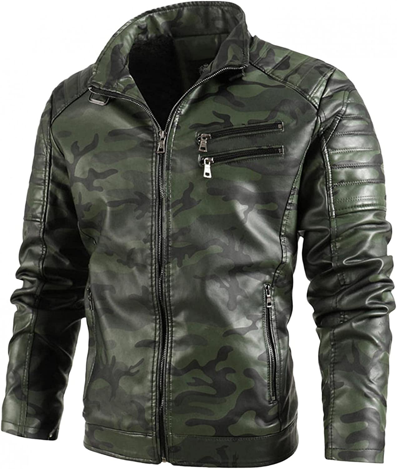 Men Casual Stand Collar PU Faux Leather Zip-Up Motorcycle Bomber Jacket With a Removable water Proof Hood Jacket Hoodie