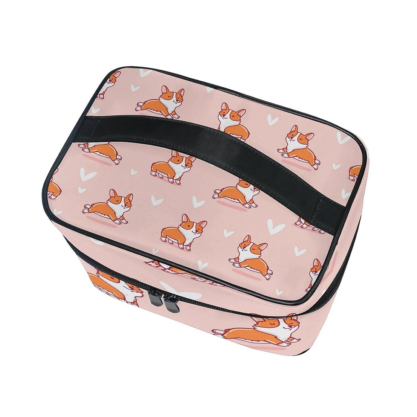 ハロウィン眠りシリンダーALAZA 化粧ポーチ 犬柄 いぬ柄 化粧 メイクボックス 収納用品 ピンク 大きめ かわいい
