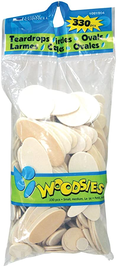Loew-Cornell 1021204 Simply Art Wood Teardrops, Ovals, and Circles Variety Pack 330 ct.