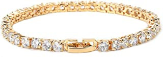 Iced Zircon Tennis Chain Bracelet Men's Hip hop Jewelry Copper Material Gold Silver Rose Clasp