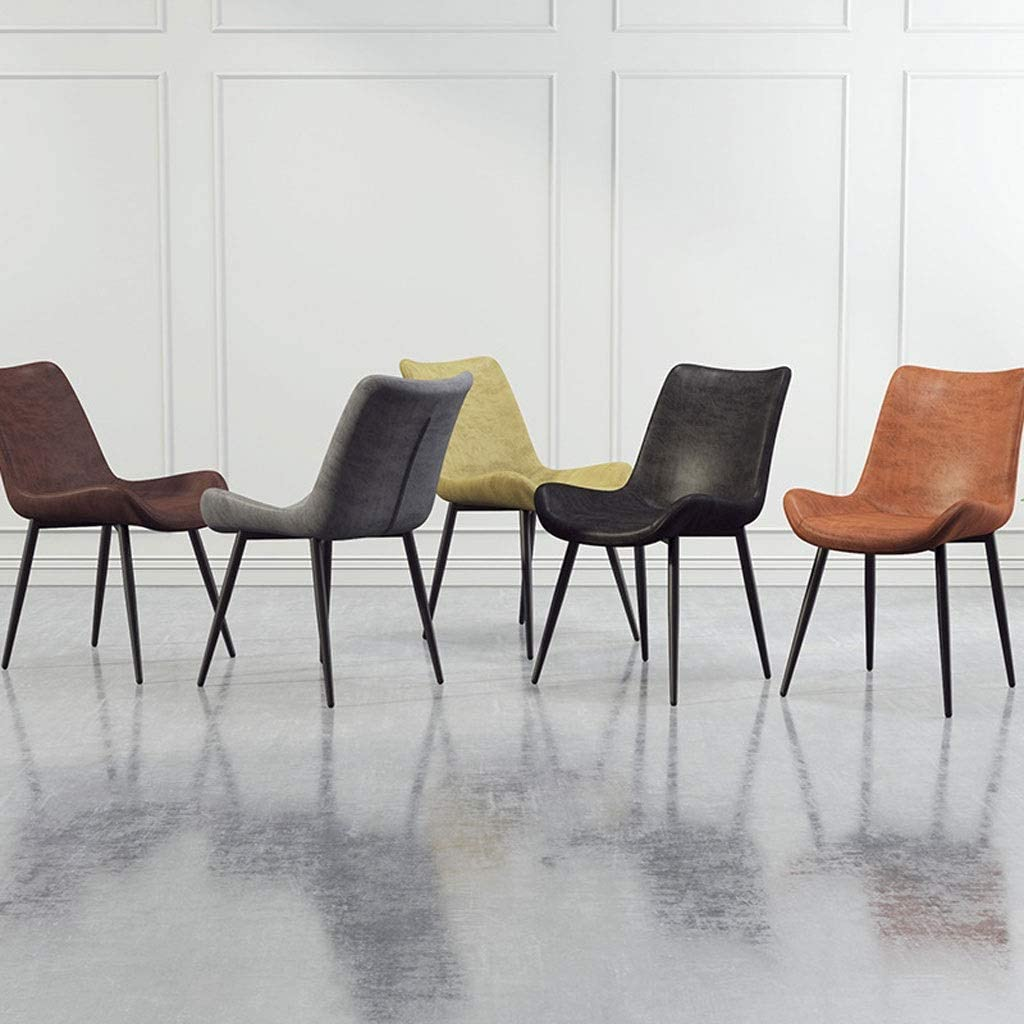 WJXBoos Design Moderne Chaise De Salle À Manger Style Côté Salle À Manger Chaise De Bureau avec Pieds De Chaise en Métal pour Salon Chambre Cuisine (Couleur: Brun) 4