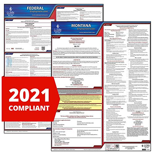 2021 Montana State and Federal Labor Law Poster Set (English, MT State) - OSHA Compliant Laminated Posters - J. J. Keller & Associates