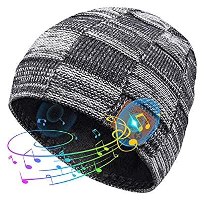 Bluetooth Beanie, V5.0 Bluetooth Hat, Stocking Stuffers Mens Gifts Wireless Music Beanie Headphones with HD Stereo Speakers, Christmas Tech Gifts for Men Women Dad Mom Husband Teenagers by HANPURE