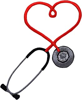 Red Medical Heart Stethoscope Iron on Embroidered Applique Patch