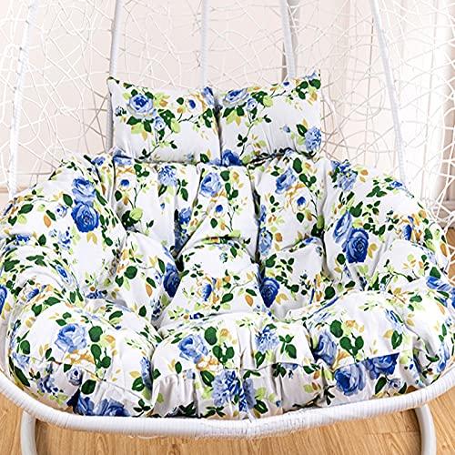 Dubbel schommelstoelkussen, hangmandkussen, verdikking huishoudelijk hangstoelkussen, met 2 kussens, rotan schommel patio tuinstoel eierkussen, zonder stoel,J