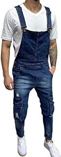 HaiDean Jeans Jumpsuit Men Men's Casual Retro Modern Overalls Length Denim Overalls Loose Stone Washed Multi Pocket Straig...