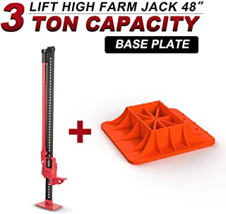 "Farm Jack 48""(3 Ton) with Jack Base,BUNKER INDUST High Lift Farm Jack 4x4 4WD Heavy Duty Off Road Recovery Emergency for Fence Work,Winching,Removing Stumps,Pulling Equipment,Small Buildings and Truck"