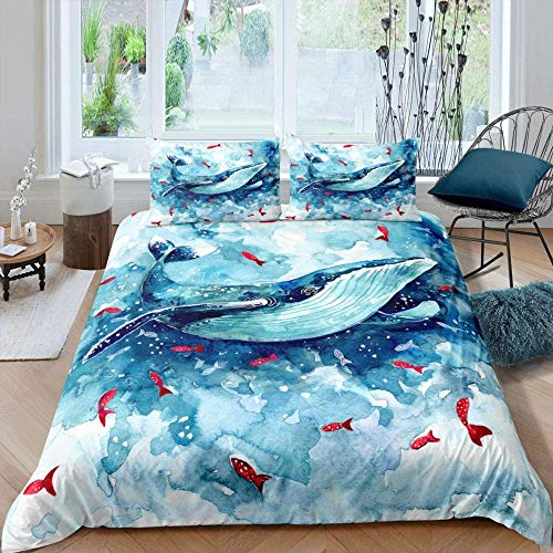 Matasuer Bedding Brushed Microfibre Duvet Cover - Marine Life Blue Watercolor Whale Red Small Fish - Super King (260 X 220 Cm) Easy Care Anti-Allergic Soft & Smooth With Pillow Cases - Gift For Teens