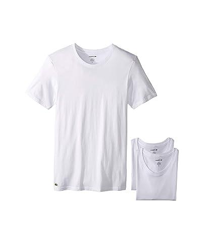 Lacoste Essentials 3-Pack Slim Fit Crew Neck Tee (White) Men