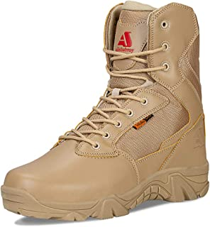 ailishabroy Men's Waterproof Military Tactical Boots Army Jungle Boots Tac Side Zip Outdoor Sneaker
