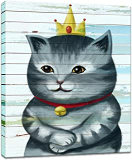 Innopics Canvas Wall Art Pets Cat Funny Animal Picture Artwork Paintings Smile Cat Princess with Crown Vintage Giclee Print Stretched and Framed for Modern Kids Room Nursery Room Decoration