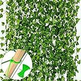 VGOODALL 16 Stück Efeu Künstlich, 35 Meter Künstliche Hängepflanzen mit 100 Stück Nylon Kabelbinder für Girlande Geschenke Party Garten Hochzeit Wand Home Decor