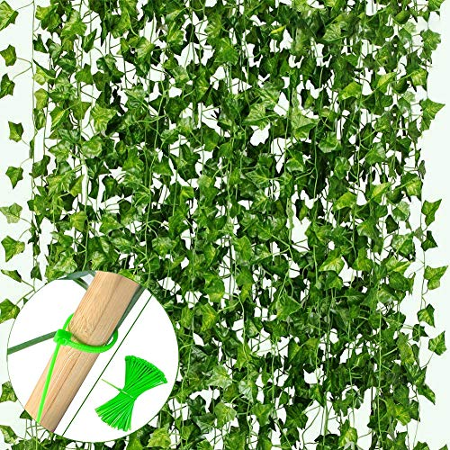 VGOODALL 16 Stücke Efeu Künstlich, 35 Meter Künstliche Efeu Hängepflanzen mit 100 Stücke Nylon Kabelbinder für Girlande Geschenke Party Garten Hochzeit Wand Home Deko