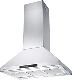 Island Chimney Vent Hood, CIARRA 450 CFM Stainless Steel Range Hood 36 inch, Touch Control Kitchen Ceiling Hood with 3 Speed Exhaust Fan & 4 Bringt Led Lights & 3 Dishwasher Safe Mesh Filters