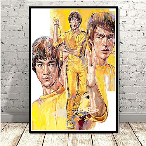 yiyiyaya Bruce Lee Kung Fu King Actor Art Poster Canvas Painting Wall Picture Decoración para el hogar Carteles e Impresiones 60x75cm