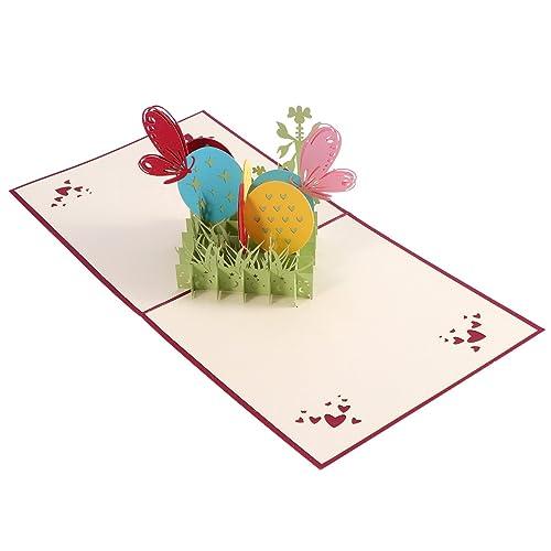 LUOEM 3D Pâques lapin et oeufs fleurs découpes pop up cartes de Pâques à la main cartes de vœux vacances cadeau pour Pâques (rouge)