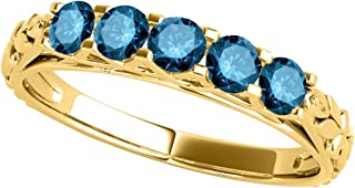 Blue Diamond 10K 1.00 Carat Five Stone Wedding Band In Rose, White And Yellow Gold