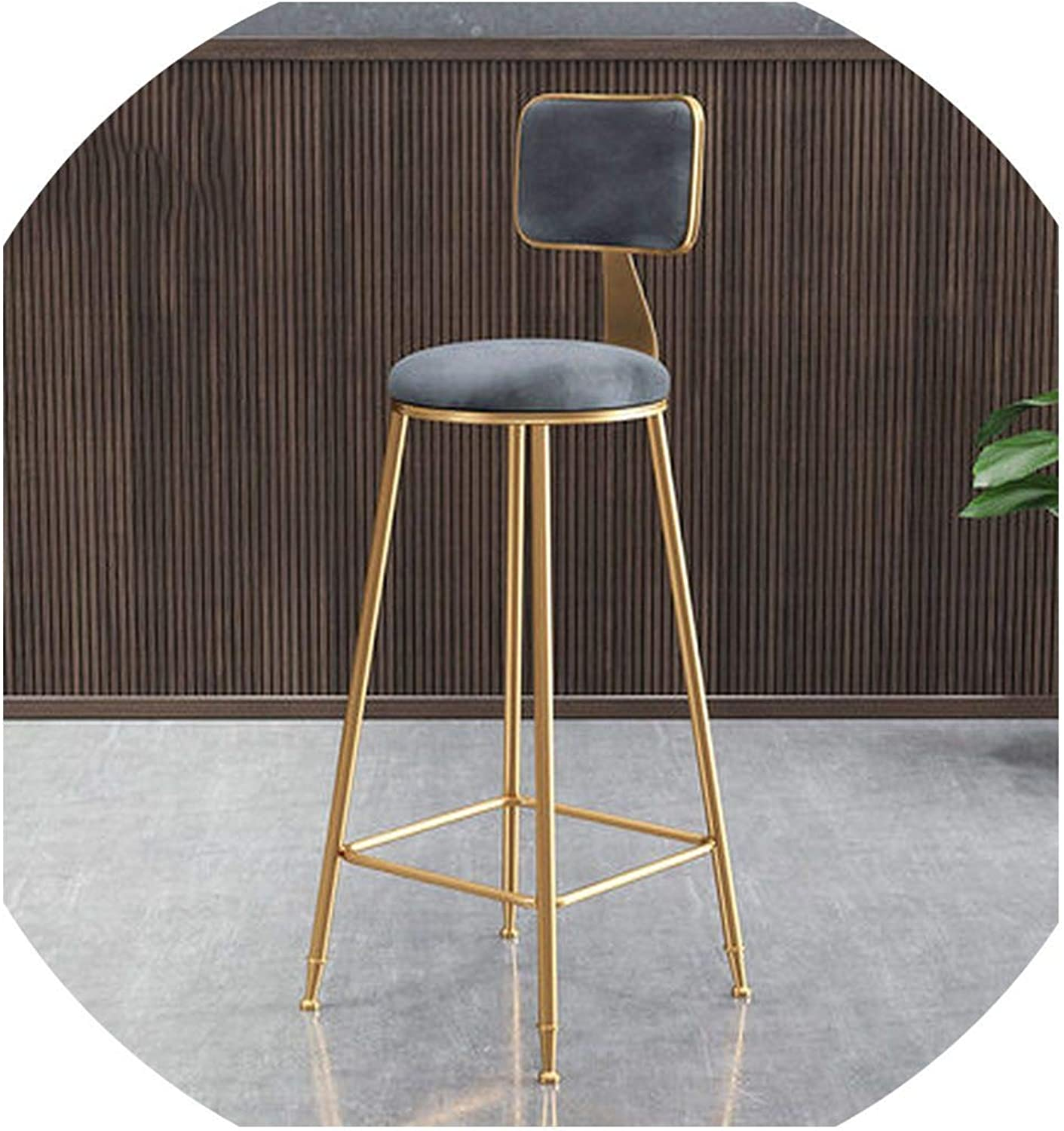 Ge-Store Minimalist golden Bar Chair Backrest High Stool Stool Front Dining Room Leisure,A1 Grey
