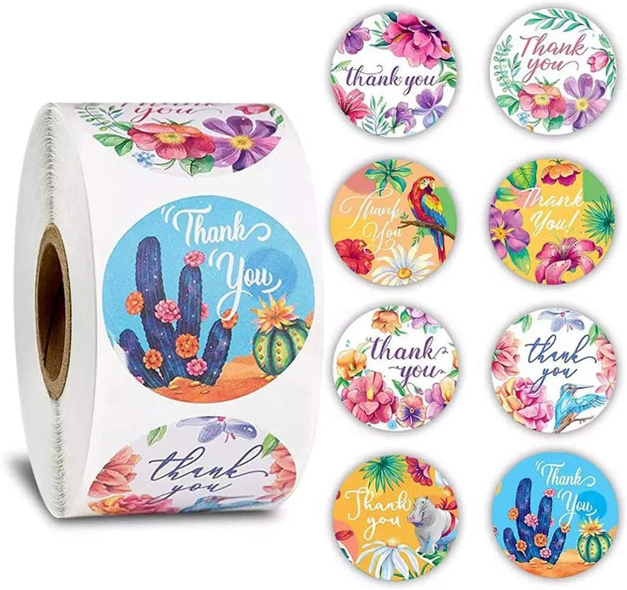 500 Pcs Floral Thank You Stickers Round Thank You Stickers 1 Inch for Wedding Favors and Party Handmade Stickers Envelope Seal Stationery Sticker